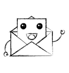 envelope mail kawaii character vector image