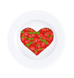 Heart from strawberry on plate vector