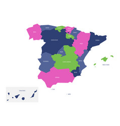 map of spain devided to administrative autonomous vector image vector image