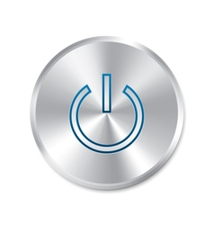 Power on button turn on round sticker vector image