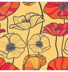 Seamless pattern with decorative poppy flowers vector image vector image