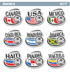 set icons of flags american national teams vector image