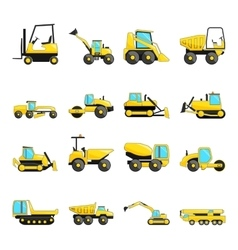 Set of construction machinery isolated flat icons vector image