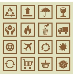 set of package signs and symbols vector image