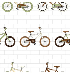 Vintage Bicycle on White Brick Wall vector image vector image