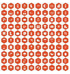 100 landscape icons hexagon orange vector