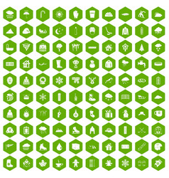 100 snow icons hexagon green vector