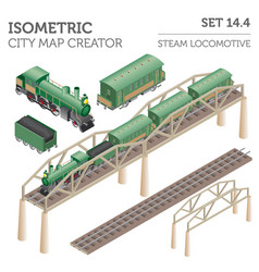 3d isometric retro railway with steam locomotive vector