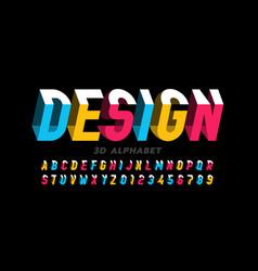 3d style modern font vector