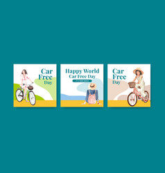 Advertise template with world car free day vector