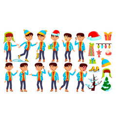 asian boy schoolboy kid poses set vector image