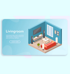 Banner living room interior in isometric vector