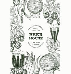 beer glass mug and hop design template hand drawn vector image
