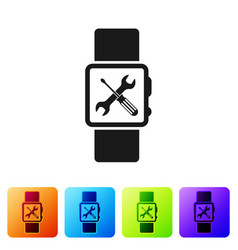 Black smartwatch with screwdriver and wrench icon vector