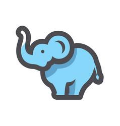 Blue funny elephant icon cartoon vector