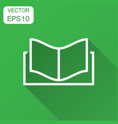 book education icon in flat style literature vector image