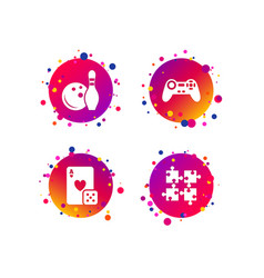 Bowling and casino signs video game joystick vector