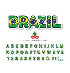 brazil cartoon font brazilian national flag vector image