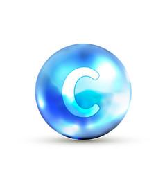 Bright glossy vitamin c icon on white vector