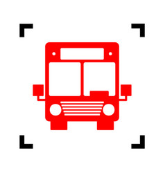 bus sign red icon inside vector image