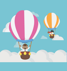 Businessman two flying on balloon challenge vector