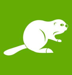 Canadian beaver icon green vector