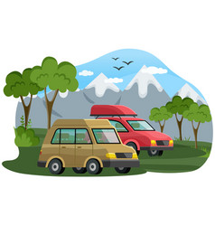 cars for family travel are in forest at foot of vector image