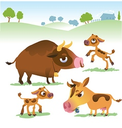 Cartoon cow set cows bull and calf bull vector