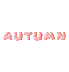 Cartoon donut and word autumn hand drawn drawing vector