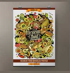 cartoon hand drawn doodles mexican food poster vector image