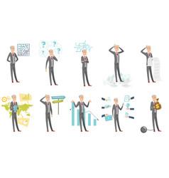 caucasian businessman set vector image