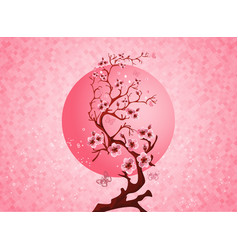 Cherry blossom spring nature scene vector