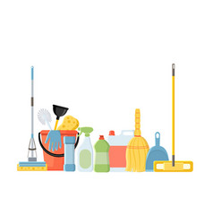 cleaning tools in flat cartoon style vector image