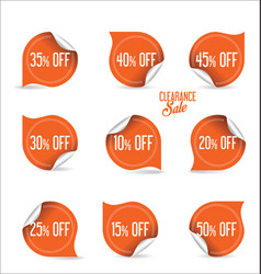 collection of orange paper sale stickers vector image