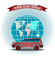 Concept world travel car on globe background vector