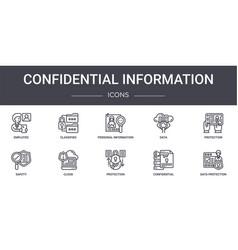 Confidential information concept line icons set vector