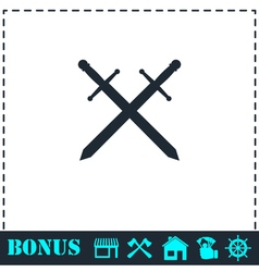 Cross swords icon flat vector