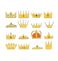 crowns with gems and diamonds set a symbol of vector image