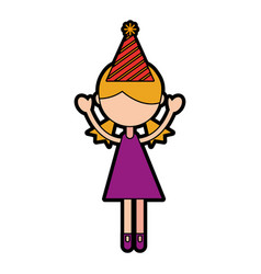 cute party girl cartoon vector image