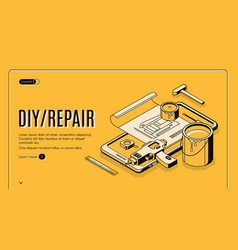 diy repair isometric banner engineering tools vector image