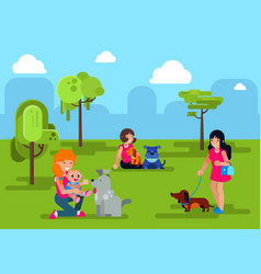 Dogs with people walking in city park vector