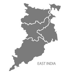 East india gray region map vector