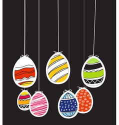 Easter eggs on rope vector image