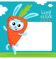 Easter greeting card template with bunny in carrot vector image