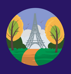 eiffel tower in paris for travel design vector image
