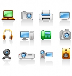electronics computers multimedia icon set vector image
