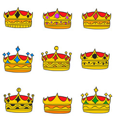 Elegent crown style doodle collection vector