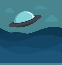 flat cartoon space ufo object in the color vector image