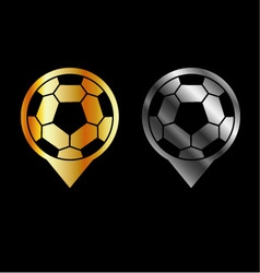 Footballs inside gold and silver placement vector image