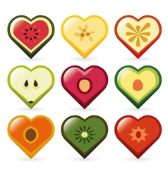 fruit hearts vector image